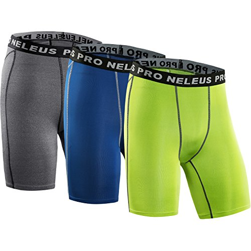 Neleus Men's 3 Pack Compression Short,047,Grey,Blue,Green,US S,EU M