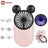 YMHML Cute Personal Mini Fan, Handheld & Portable USB Rechargeable Fan with Beautiful LED Light, 3 Adjustable Speeds, Portable Holder, Perfect for Indoor Or Outdoor Activities, Cute Mouse (Pink)