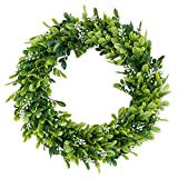 LASPERAL 14'' Artificial Green Leaves Wreath Eucalyptus Wreath Boxwood Wreath Round Green Wreath Outdoor Green Wreath Front Door Wall Window Party Décor