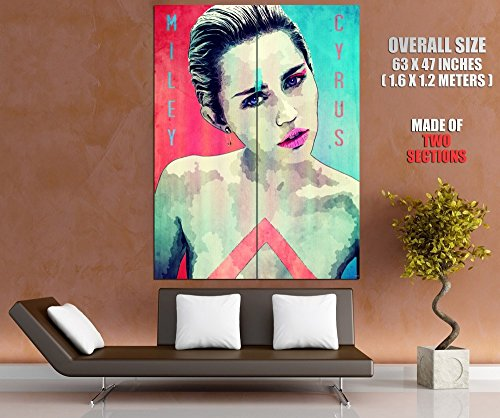 Miley Cyrus Hot Sexy Nude Awesome Pop Art Vintage Painting 63x47 Huge Giant Poster Print