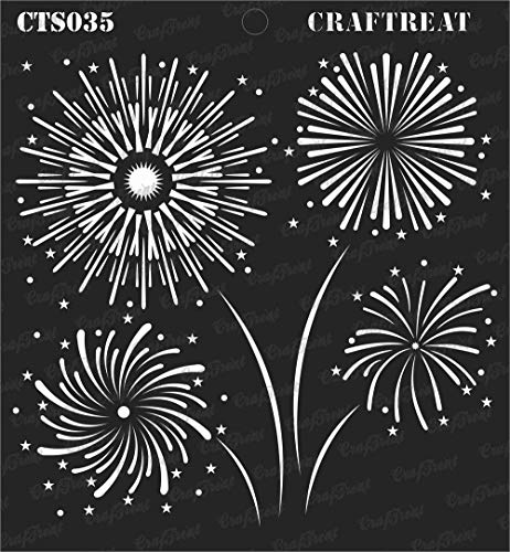 CrafTreat Stencil - Fire Works | Reusable Painting Template for Journal, Notebook, Home Decor, Crafting, DIY Albums, Scrapbook and Printing on Paper, Floor, Wall, Tile, Fabric, Wood 6