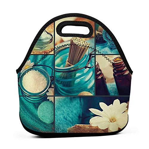 (Neoprene Lunch Bag Spa,Blue Themed White Daisies Scents Towels and Incense Artwork Collage Design,Blue Brown and White,thermos bag for lunch)