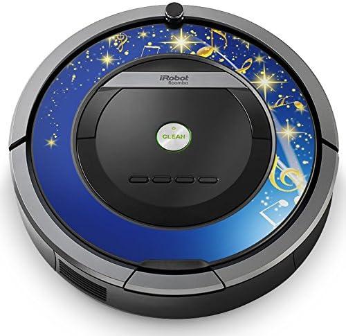 iRobot ルンバ Roomba 専用スキンシール ステッカー 870 871 875 876 880 885 対応 フラワー 音符 青 ブルー 006821