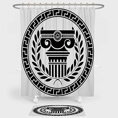 (iPrint Toga Party Shower Curtain And Floor Mat Combination Set Hellenic Column and Laurel Wreath Heraldic Symbol with Olive Branch Graphic Decorative For decoration and daily use Black White)