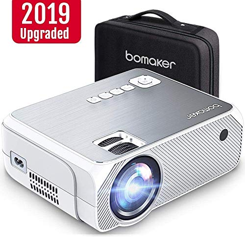 """Mini Projector, Bomaker Video Projector with 3900 Lux, 1080P and 250"""" Display Supported Portable HD Projector, Compatible with TV Stick, PS4, HDMI, VGA, TF, AV and USB, with Carrying Case"""