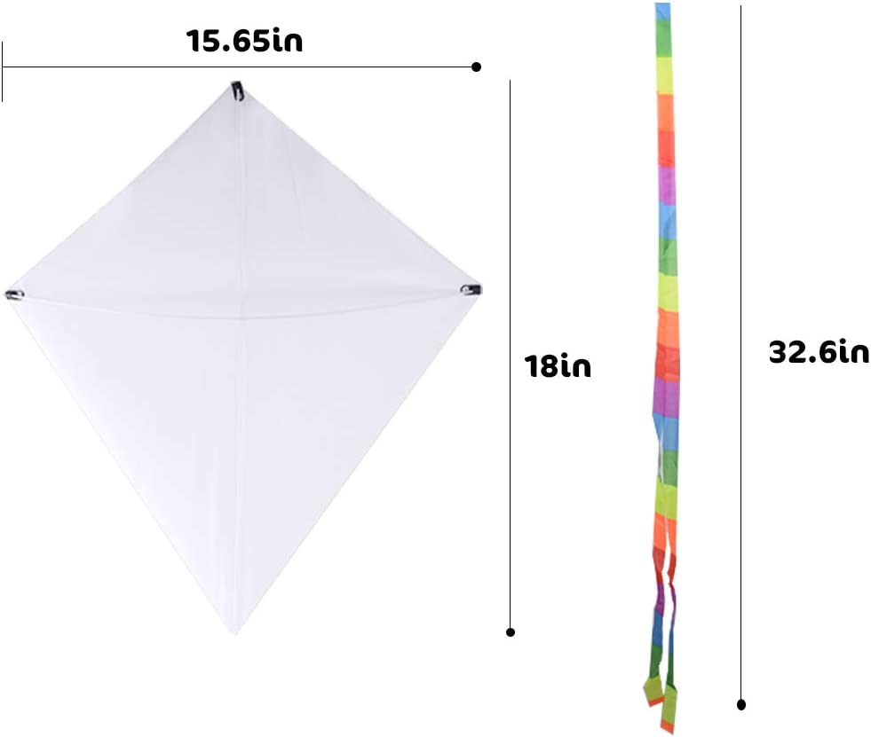FunPa 7PCS DIY Kites for Kids Kids Kite Creative Blank Paint DIY Fashion Flying Kite with Roll and Line Outdoor Toys for Beginners