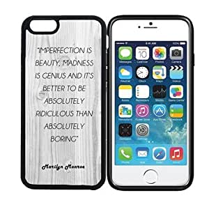 iPhone 6 (4.7 inch display) RCGrafix Imperfection Is Beauty, Madness Is Genius Marilyn Monroe Quote - White Wood - Designer BLACK Case - Fits Apple iPhone 6- Protected Cell Phone Cover PLUS Bonus Iphone Apps Business Productivity Review Guide