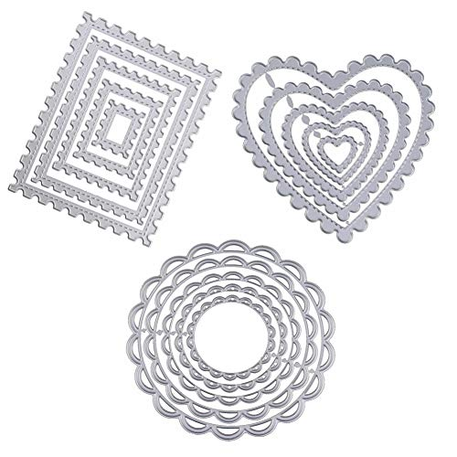 WYSE Cutting Die Geometric Heart Round Rectangle Stencil Dies for Card Making Scrapbooking Decor Tools (15pcs/ Pack)