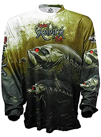 Bigfish skelefish bass upf50 long sleeve performance for Bass fishing hoodies