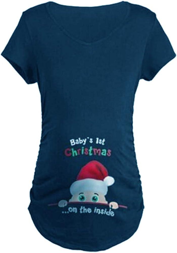 Q.KIM Donna Maglietta Premaman T-Shirt Divertente