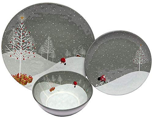 Melange 18-Piece Melamine Dinnerware Set (Santa Comes Home) | Shatter-Proof and Chip-Resistant Melamine Plates and Bowls | | Dinner Plate, Salad Plate & Soup Bowl (6 Each)