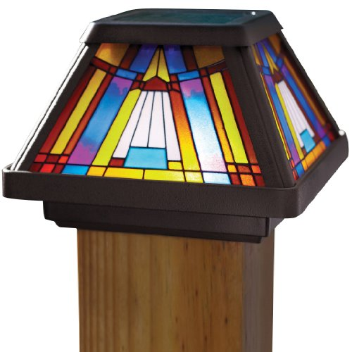 Moonrays Post Cap Lamp In Stained Glass Design (6x Brighter Solar Powered LED) (Stained Garden Design)