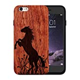 JuBeCo 2016 Wood iPhone Case Back Cover for iPhone 6/6s(4.7inch), iPhone 6s Cases Wood Wooden Bamboo (Horse Rosewood)