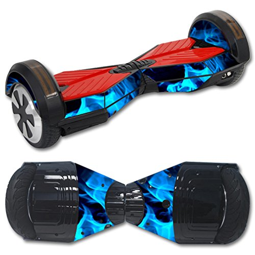 MightySkins Protective Vinyl Skin Decal for Self Balancing Board Scooter Hover 2 wheel mini board unicycle bluetooth wrap cover sticker Blue Flames