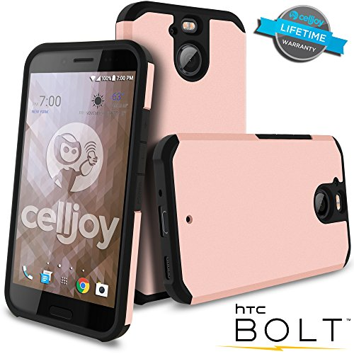 Celljoy Case compatible with HTC Bolt, HTC 10 EVO model [[Will NOT FIT HTC 10]] [Liquid Armor] [Dual Layer] Protective Hybrid [[Shockproof]] Thin Hard Shell/Soft TPU Skin - Matte (Metallic Rose ()