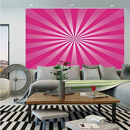 Framed Sunrays - Hot Pink Huge Photo Wall Mural,Retro Style Sunrays Inspired Pattern Explosion Blast Effect Radial Design Decorative,Self-Adhesive Large Wallpaper for Home Decor 100x144 inches,Hot Pink White