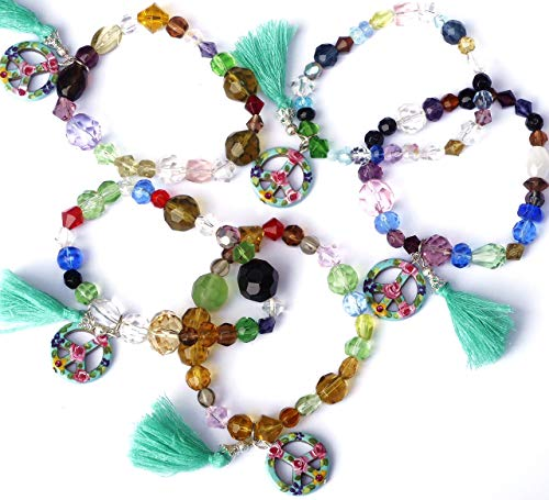 Colorful Boho Beaded Glass Tassel Bracelets with Dangling Peace Charms and Hand Painted Flowers ()