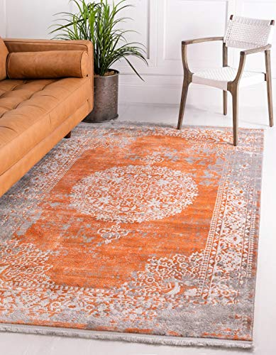 Unique Loom New Classical Collection Traditional Distressed Vintage Classic Terracotta Area Rug 5 0 x 8 0