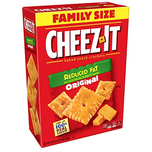 - Cheez-It Baked Snack Cheese Crackers, Reduced Fat, Original, Family Size, 19 oz Box