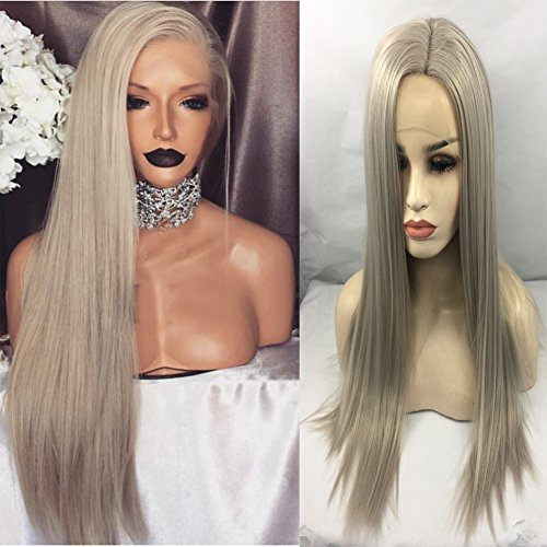 Glam Wig Platinum (V'NICE Long Synthetic Hair Lace Front Lace Wigs Synthetic Ash Blond Straight Heat Resistant Fiber Wigs Middle Parting Replacement)