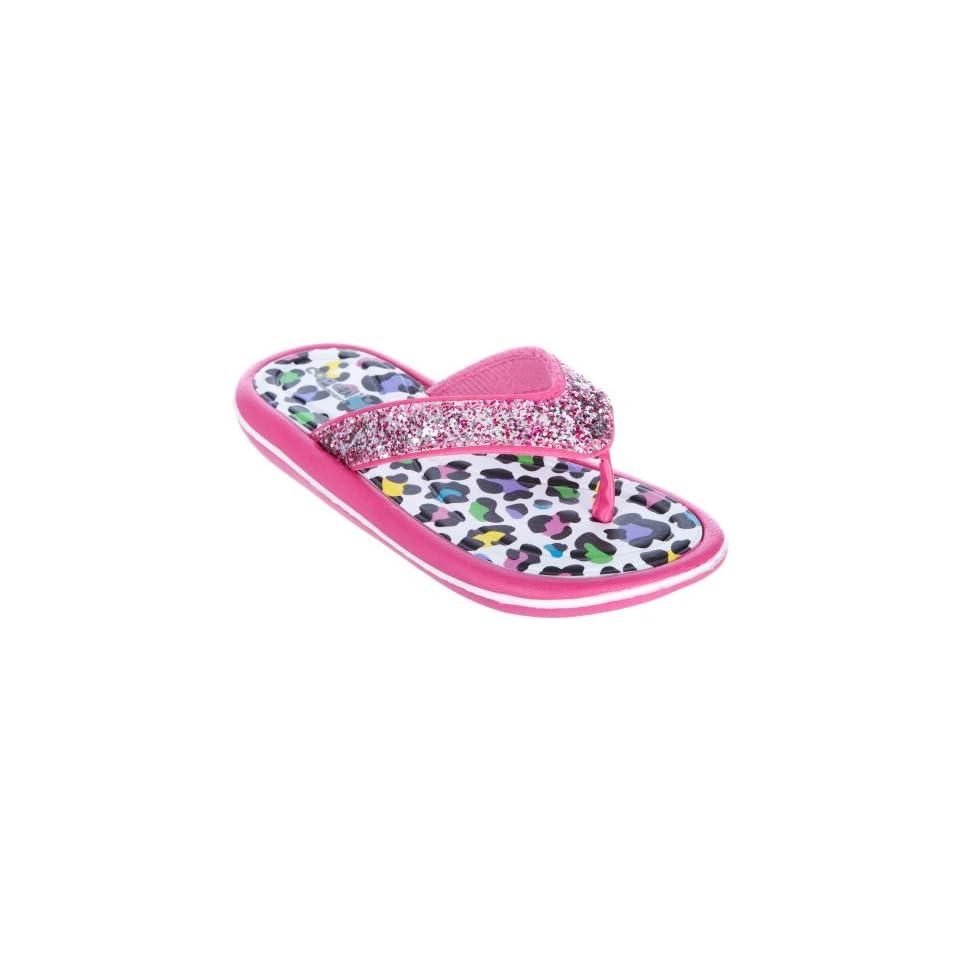 Capelli New York Leopard Print With Glitter Girls Flip Flops Pink Combo 10/11