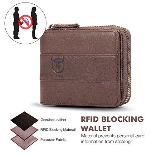 Mens Leather Wallet,E Ekphero Zipper Card Holder RFID Blocking Wallet Coins Purse by E Ekphero (Image #3)