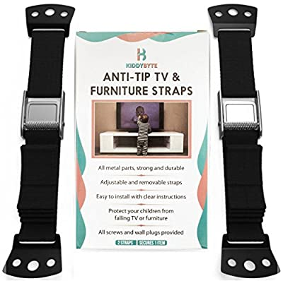 Anti Tip Furniture Kit & TV Safety Straps - Adjustable Anchors 100% Metal Strap for Children Proof & Baby Proofing, Wall Anchor For Earthquake Resistant by KiddyB
