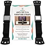 Anti Tip Furniture Kit & TV Safety Straps (2 Pack) - Adjustable Anchors 100% Metal Strap for Children Proof & Baby Proofing, Wall Anchor For Earthquake Resistant by KiddyByte