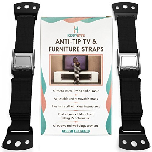 Baby Proofing Anti Tip Furniture Kit - Wall Anchor Safety Straps for Flat Screen TV & Dresser (2PC), Premium Adjustable Metal Strap Anchors for Children Proof, Earthquake Resistant Mount by KiddyB ()