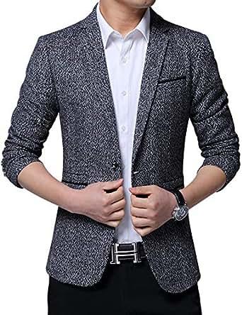 Jueshanzj Men's Slim Fit Suit Jacket One Button L Gray