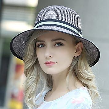 Sombrero femenino de moda de verano Sombrero de Paja tejida Lady sombrilla  hat afuera sunscreen hat f2d19b67093
