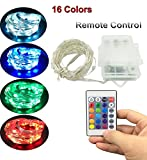 YKSH Indoor & Outdoor Led String Lights, Battery Powered Led Fairy String Lights with Remote and Timer Waterproof Multi Color Changing Light for Patio Parties Wedding Decoration Christmas Tree