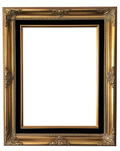 West Frames Estelle Antique Wood Baroque Picture Frame (Gold Black Velveteen Liner, 12