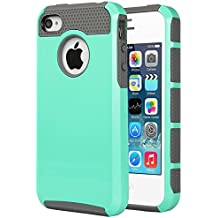 iPhone 4S Case ,iPhone 4 Case,4S Case,ULAK Dual Layer Hybrid Slim Hard Case for iPhone 4S & iPhone 4 with Hard PC Cover and Soft Inner TPU (Light Blue/Gray)