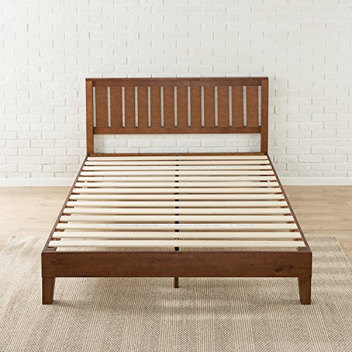 zinus 12 inch deluxe wood platform bed with headboard no box import it all. Black Bedroom Furniture Sets. Home Design Ideas