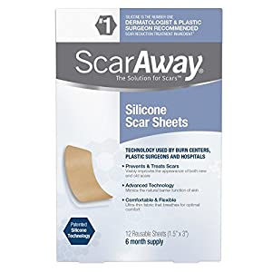 ScarAway Professional Grade Silicone Scar Treatment Sheets, 12 Count ( Packaging May Vary )