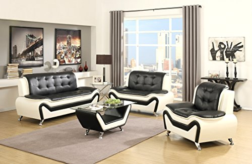 US Pride Furniture 4 Piece Modern Bonded Leather Sofa Set with Sofa, Loveseat, Chair, and Coffee Table, White/Black