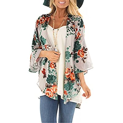 Women's Floral Kimono Cardigan Summer Loose Chiffon Beach Open Front Cover Up Tops at Women's Clothing store
