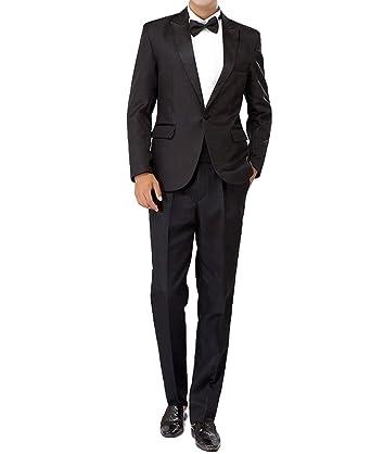 ffa605d555cd2 (アンダブル) AnW タキシード 黒 衣装 司会 舞台 二次会 スーツ 上下 5点セット (