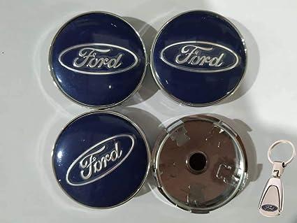 4X Tapacubos Ford 60 mm Tapas centrales con Azul KA Kanda Fusion Fiesta Focus Llavero Mondeo