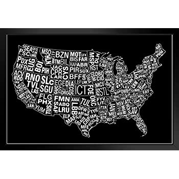 USA Airports Abbreviation Code White Framed Poster 14x20 inch Poster Foundry 175731