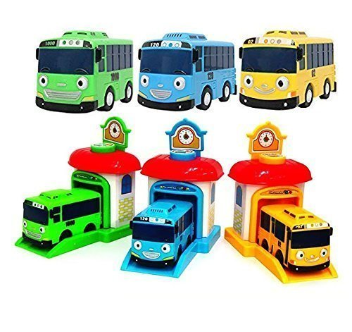The Little Bus Tayo Shooting Car Bus and Staion Set Rogi Tayo Rani (Cars Bus Toy)