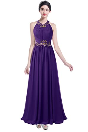 59fe81582042 Ellames Beaded Long Chiffon Bridesmaid Dress Jewel Prom Evening Dress  Purple US 2