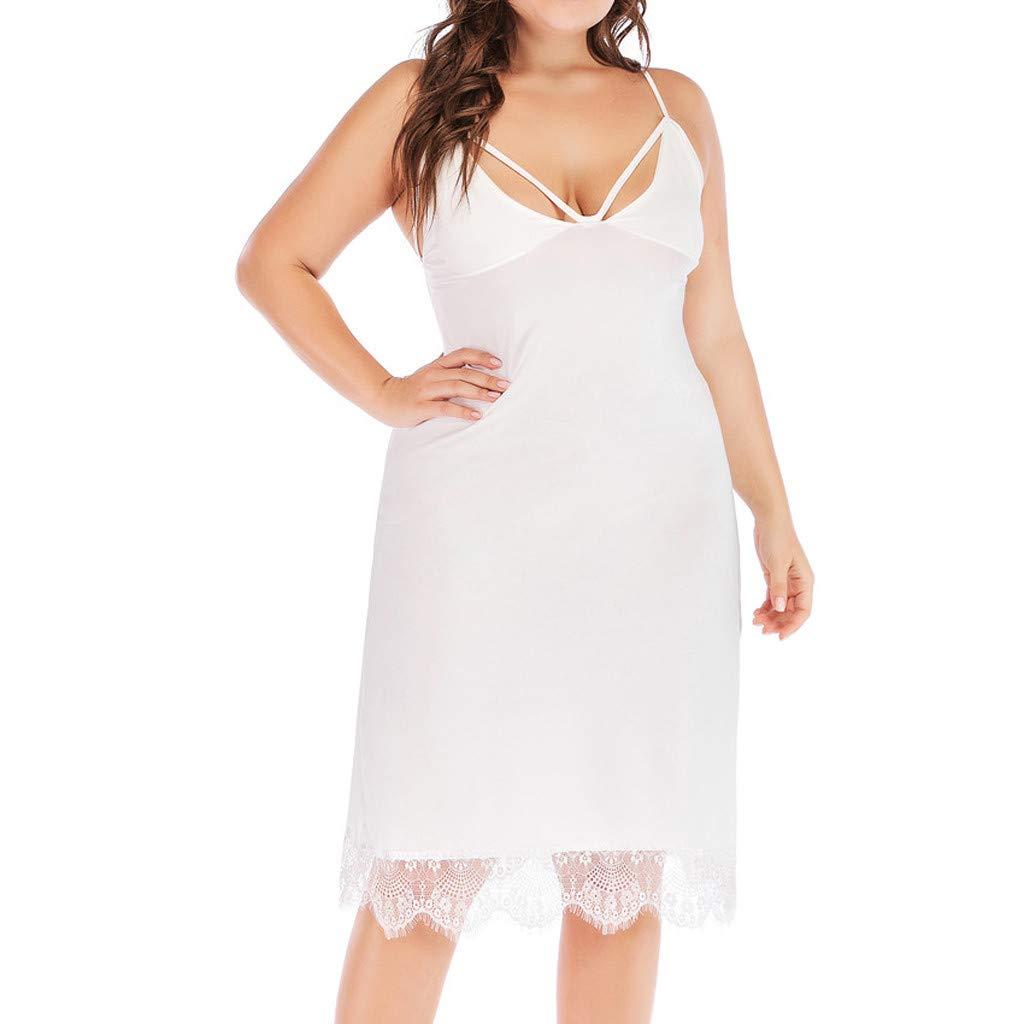 Womens Plus Size Dress Deep V Neck Nightgown Sleeveless Sleep Shirt Dress Soft Loose Sleepwear with Lace White