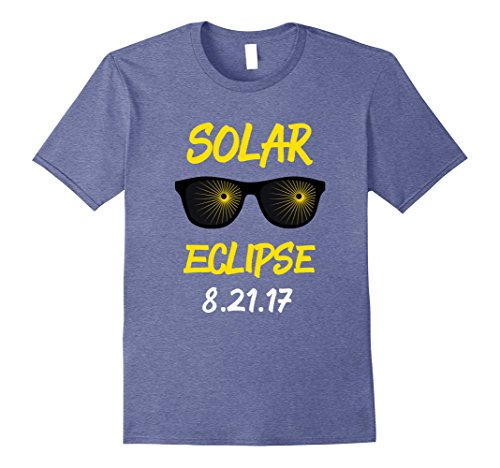 Mens Funny Solar Eclipse 2017 Sunglasses T-Shirt Large Heather - Solar 2017 Eclipse Sunglasses
