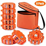 Tobfit LED Road Flares Portable Emergency Lighting Flare Kit with Magnetic Base & Hook for Car and Boat (Set of 8) (8)