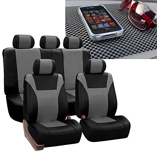 FH Group FH-PU003115 Racing PU Leather Car Full Set Gray/Black Seat Covers, Airbag Ready and Split w. FREE FH1002 Non-Slip Dash Pad- Fit Most Car, Truck, Suv, or Van