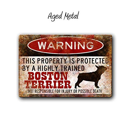 Joycenie New Great Signs Aluminum Metal Boston Terrier Sign,Funny Metal Signs,Dog Warning Sign,Protected by,Boston Bull Terrier Sign,Warning Signes 12x18 Inch