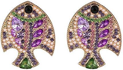 LSZFCHEH Pendientes De Cristal De Pescado Moda Mujer Accesorios De Joyería De Boda De Fiesta De Diamantes De Imitación Étnicos
