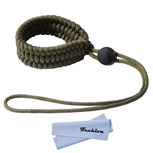 Techion Braided 550 Paracord Adjustable Camera Wrist Strap/Bracelet for Cameras, Binoculars, and Other Stuff (Army Green)